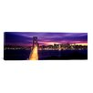 iCanvas Panoramic Bay Bridge Lit up at Dusk San Francisco Bay, California Photographic Print on Canvas
