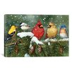 "<strong>iCanvasArt</strong> Decorative Art ""Backyard Birds on Snowy Branch"" by William Vanderdasson Graphic Art on Canvas"