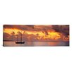 iCanvasArt Panoramic Boat at Sunset Photographic Print on Canvas