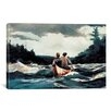 iCanvasArt 'Canoe in The Rapids 1897' by Winslow Homer Painting Print on Canvas