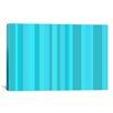 iCanvas Striped Aqua Torquise Cyan Graphic Art on Canvas