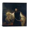 "<strong>iCanvasArt</strong> ""Aristotle Comtemplating the Bust of Homer or Aristotle with a Bust of Homer"" Canvas Wall Art By Rembrandt"