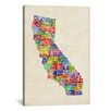 iCanvas 'California Typography Text Map' by Michael Tompsett Textual Art on Canvas