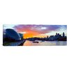 iCanvasArt Panoramic City Hall with Office Buildings at Sunset, Thames River, London, England 2010 Photographic Print on Canvas