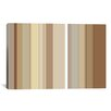 iCanvas Striped Cafe Mocha Brown Graphic Art on Canvas