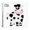 <strong>iCanvasArt</strong> Kids Art C is for Cow Canvas Wall Art
