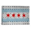 iCanvasArt Chicago, Illinois - Grunge Rivet Metal Painted Graphic Art on Canvas
