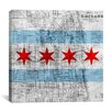 iCanvasArt Chicago Flag, Map Graphic Art on Canvas