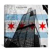 <strong>iCanvasArt</strong> Chicago Flag, Willis Tower (Sears Tower) with Map Graphic Art on Canvas