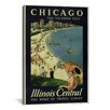 <strong>iCanvasArt</strong> Chicago Illinois Central (the Vacation City) Vintage Advertisement on Canvas