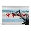 iCanvasArt Chicago Flag, Chicago Skyline Graphic Art on Canvas