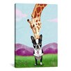 iCanvasArt Boston Terrier Giraffe by Brian Rubenacker Graphic Art on Canvas