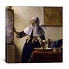 "iCanvas ""Young Woman with a Water Pitcher"" Canvas Wall Art By Johannes Vermeer"