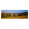 <strong>iCanvasArt</strong> Panoramic Church and a Barn in a Field, Peacham, Vermont Photographic Print on Canvas