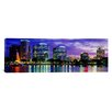 iCanvas Panoramic View of an Urban Skyline at Night, Orlando, Florida Photographic Print on Canvas
