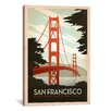 iCanvas Golden Gate Bridge - San Francisco, California by Anderson Design Group Vintage Advertisement on Canvas