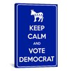 iCanvasArt Keep Calm and Vote Democrat Textual Art on Canvas