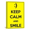 iCanvas Keep Calm and Smile Textual Art on Canvas