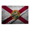 <strong>Florida Flag, Grunge Cracks Ocean Keys Graphic Art on Canvas</strong> by iCanvasArt