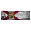 iCanvas Florida Flag, South Beach, Grunge Vintage Map Panoramic Graphic Art on Canvas
