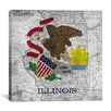 iCanvas Illinois Flag, Map Graphic Art on Canvas