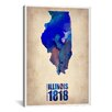 "iCanvas Naxart ""Illinois Watercolor Map"" Graphic Art on Canvas"