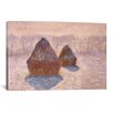 <strong>iCanvasArt</strong> 'Haystacks (Effect of Snow and Sun) 1891' by Claude Monet Painting Print on Canvas