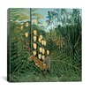"<strong>iCanvasArt</strong> ""In a Tropical Forest Struggle between Tiger and Bull"" Canvas Wall Art by Henri Rousseau"