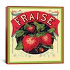 iCanvas Fraise Strawberries Vintage Crate Label Canvas Wall Art