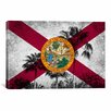 iCanvas Florida Flag, Grudge Palm Trees Graphic Art on Canvas
