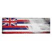 iCanvasArt Hawaii Flag, Grunge Beach Palm Trees, Surfing Ocean Panoramic Graphic Art on Canvas