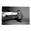 <strong>iCanvasArt</strong> Elvis Presley and a Cadillac, 1950's Photographic Print on Canvas