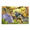 iCanvasArt Kids Children Jungle Cartoon Animals Li Canvas Wall Art