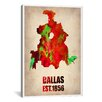 iCanvas 'Dallas Watercolor Map' by Naxart Graphic Art on Canvas