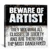 iCanvas Modern Beware Textual Art on Canvas
