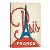 iCanvas 'Eifel Tower - Paris, France' by Anderson Design Group Vintage Advertisement on Canvas