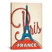 iCanvas 'Eifel Tower - Paris, France' by Anderson Design Group Vintage Advertisement on Canvas