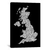 iCanvasArt 'Great Britain Cities Text Map II' by Michael Tompsett Textual Art on Canvas