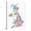 iCanvasArt 'Great Britain County Text Map III' by Michael Tompsett Textual Art on Canvas