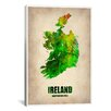 <strong>iCanvasArt</strong> 'Ireland Watercolor Map' by Naxart Graphic Art on Canvas
