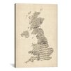 iCanvas 'Great Britain Music Map II' by Michael Tompsett Textual Art on Canvas