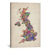 iCanvasArt 'Great Britain UK City Text Map IV' by Michael Tompsett Textual Art on Canvas
