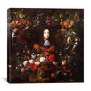 "iCanvas ""Flower Garland with Portrait of William III of Orange"" Canvas Wall Art by Jan Davidsz de Heem"