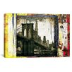 iCanvasArt 'Pont Brooklyn Pancarte (Brooklyn Bridge)' by Luz Graphics Graphic Art on Canvas