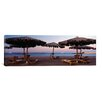 iCanvasArt Panoramic 'Lounge Chairs with Sunshades on the Beach, Hilton Resort, Hurghada, Egypt' Photographic Print on Canvas