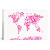 iCanvas 'Love Hearts Map of theWorld' by Michael Tompsett Graphic Art on Canvas