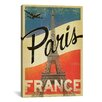 iCanvas 'Paris, France' by Anderson Design Group Vintage Advertisement on Canvas