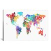 iCanvas 'World (Countries) Typographic Map' by Michael Tompsett Textual Art on Canvas