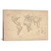 <strong>'World Map of Cities II' by Michael Tompsett Graphic Art on Canvas</strong> by iCanvasArt