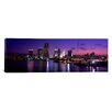 <strong>iCanvasArt</strong> Panoramic Night Skyline Miami, Florida Photographic Print on Canvas